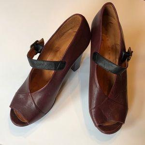Chie Mihara deep red ankle strap buckle heels 10